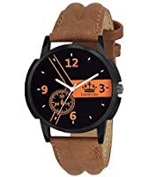 LimeStone Mack~X~Sport Round Casual Analog Brown Strap & Black Dial Men's / Boy's Wrist Watch - LS2633