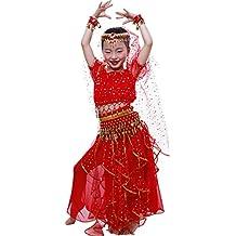 Astage Niña Traje Danza del Vientre Lentejuelas Danza India Halloween Disfraz Azul Cielo XS