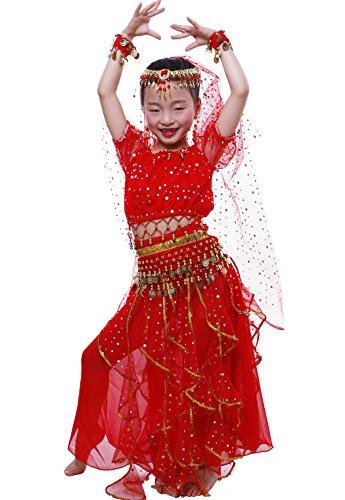 Astage Bauchtanz Mädchen Kleid Red -
