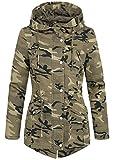 Regular Damen Parka 70181109, Übergangsjacke Camo Optik, 100% Baumwolle, Kapuzenjacke, Fishtaill, Sommerjacke camouflage, Gr:M