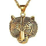 PROSTEEL Tigre Cabeza Collar con Colgante de Hombre Mjuer, Acero Inoxidable Cabeza De León Bañado En Oro 18K Colgante Hombres con Cadena Leopardo