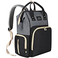 PRITEK Nappy Changing Backpack, Waterproof Multi-Function Large Capacity Diaper Bag Backpack for Mom/Dad with Stroller Straps & Insulated Pockets, Fashion and Durable (Black-Gray)