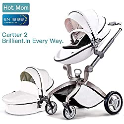 Cochecito de bebé de Hot Mom 2017, sillita de paseo 3 en 1 (incluye moisés), color blanco blanco WHITE-BLACK ...