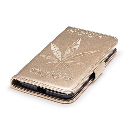 Für Motorola Moto G4 Play Case Cover, Premium Soft TPU / PU Leder geprägt Ahorn Muster Brieftasche Fall mit Halter & Cash Card Slots & Lanyard ( Color : Rose Gold ) Gold