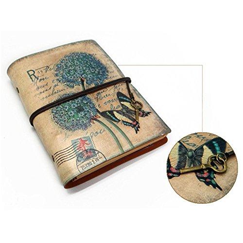 Saflyse Retro Vintage elegant Leder Notebook Reisen-Tagebuch Loseblatt Notizblock (Schmetterling)
