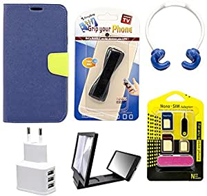 Mify Mobile Accessories Combo for Micromax canvas A110, Blue