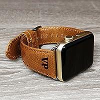Apple Watch Strap Band Hand Stich Vintage echtes Leder Apple Watch Band 38mm 42mm iwatch Band Gurt Herren Boyfriend Mann Geschenk Serie 3 2 1 Weihnachten personalisiertes Geschenk personalisieren gelb braun