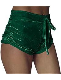IMJONO Pantalones cortos elásticos de terciopelo Pantalones pitillo casual de cintura alta Mallas para mujer
