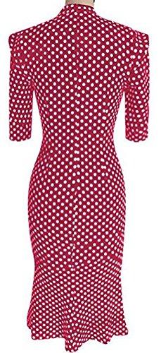 SunIfSnow - Robe spécial grossesse - Moulante - À Pois - Col Boutonné - Manches Courtes - Femme Bordeaux