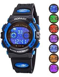 Reloj infantil para niño niño niña LED multifunción deportes al aire libre vestido digital impermeable alarma