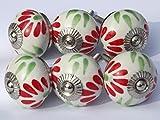 6 x para acabados metálicos en blanco redondo con rojo y verde de nieve (cromado accesorios) tiradores de cajón de cerámica pomo para puerta de armari