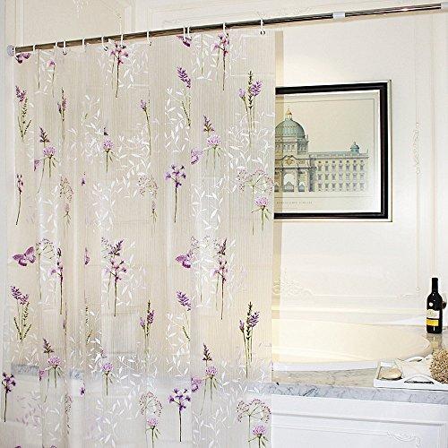 Mooxury Duschvorhang Badvorhang Deko Vorhang für die Dusche Liner mit 12Haken, Anti-Schimmel Wasserdicht EVA Polyester lila Blume mit Schmetterling 180x 180cm