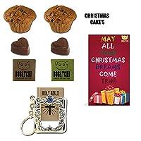 BOGATCHI Xmas Gift Hamper, Xmas Plum Cake (2x40g), Xmas Dark Chocolates, 2pcs + Free Merry Xmas Card + Free Holy Bible Keychain