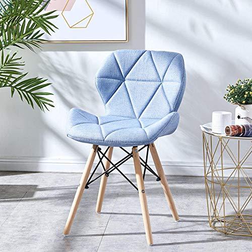 Velliceasay Design Polsterhocker,Mini Sessel Kindergarten Sitzhocker Sitz Stuhl Sofa für Schlafzimmer Spielzimmer,Nordic Dining Chair Rückenlehne Hocker Simple Home Chair,hellblau-Stoff (Schwarz, Stoff Dining Chair)