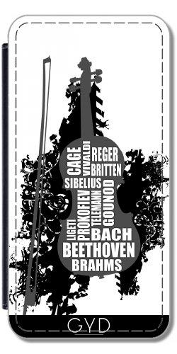 Leder Flip Case Tasche Hülle für Apple iPhone 5/5S - Violine Und Komponisten by Warp9 Lederoptik