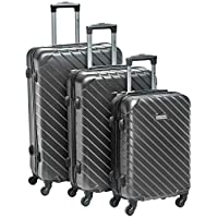 New Travel Hardside spinner luggage Set of 3 pieces with 3 digit number Lock  Dark Grey
