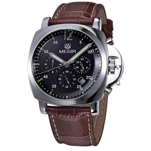MEGIR Sports Analogue Black Dial Military Chronograph Watch with Leather Strap For Men - MEGIR 3006