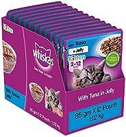 Whiskas Kitten (2-12 months) Wet Cat Food, Tuna in Jelly, 12 Pouches (12 x 85g)