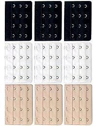 Vococal - 9 piezas 3 Fila 4 Ganchos Elásticos Sujetador Ropa Interior Bra Extensor Ajustable Gancho para Mujer (Negro,Blanco y Color de Piel)