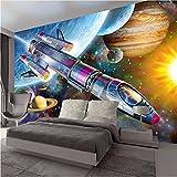 Qwerlp Foto 3D Poster Wallpaper Moderne Handgemalte Cartoon Space Universe Rocket Kinderzimmer Wandbild Wall Kids Schlafzimmer