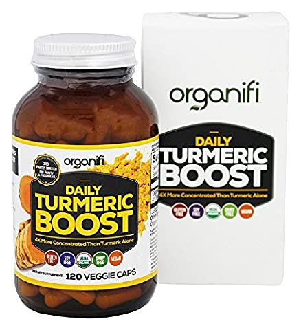 Daily Turmeric Boost - Turmeric Super Food Supplement (1500mg) 30 Day Supply. USDA Raw Organic Vegan Turmeric Veggie Capsules (120 Count) by