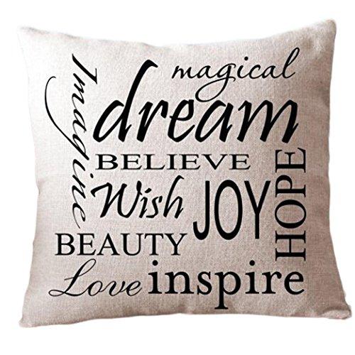 Ouneed® cotone lino pendente cuscino tiro cuscino federe slittamento divano caso (dream)