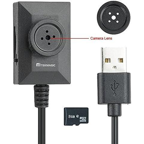 TEKMAGIC 8GB Mini Portátil Cámara Espía Botón Grabadora de Vídeo Soporte de Grabación de Bucle 7/24 Horas de Trabajo Talla Pequeña 3.2cm×2.1 cm×1.2 cm