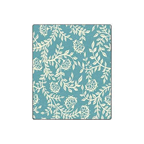Mesllings Couch-Decke, Vintage-Blumendesign, für alle Jahreszeiten, 127 cm (B) x 152,4 cm (L) Vintage-olive Wood