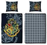 Character World Wende Bettwäsche Set Harry Potter 135 x 200 cm 80 x 80 cm, 100% Baumwolle, Linon, Hogwarts, deutsche Standartgröße