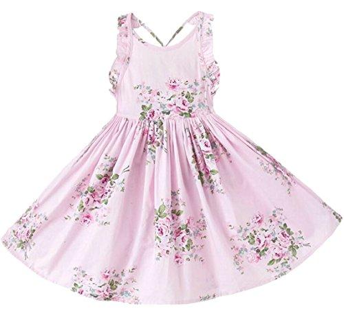 security Little Girl Fashion Print Flower A-Line Hem Party Mini Dress