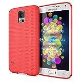 NALIA Handyhülle für Samsung Galaxy S5 S5 Neo, Hülle Ultra-Slim Case Cover, Dünne Punkte Schutzhülle, Etui Handy-Tasche Back-Cover Bumper, TPU Silikon-Hülle für Samsung S5 Neo S5 - Mesh Rot