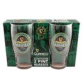 Guinness de Irlanda 2 pintas de cristal para juego de la colección de