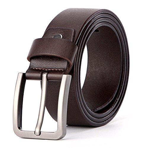 XIANGUO Herren Edel Gürtel Business Gürtel Leder Gürtel Cool Herrengürtel Jeansgürtel Metall Retro Breite Gürtel