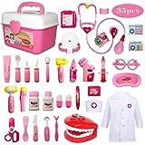Buyger 35 Piezas Juguete de Doctora Enfermera Disfraz Cosplay de Médico Maletín Caso Dentista Clínica Dental Juego de rol Regalos para Niños (Rosa)