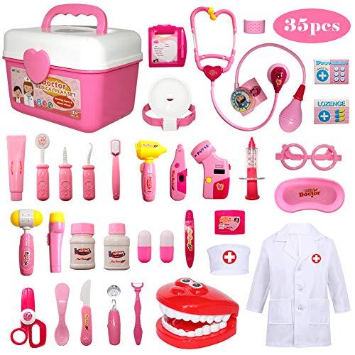 Mädchen Kostüm Lager - Buyger 35 Teile Arztkoffer Medizinisches Doktor Arztkittel Rollenspiel Spielzeug Geschenke Kinder(Rosa)