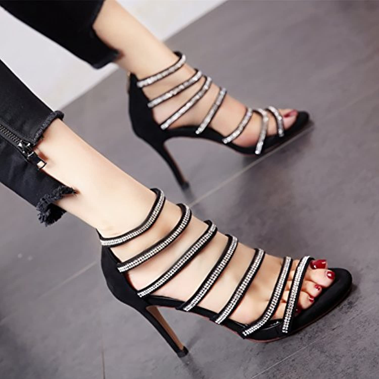YMFIE YMFIE YMFIE In stile europeo estate donna fashion high heel toe sandali di punta di diamante zipper incavate tacco alto...   acquisto speciale    Sig/Sig Ra Scarpa  5294fc