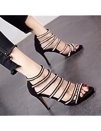 YMFIE Ladies' estate in maglia di colore punta tacco alto sandali di moda di temperamento e zipper tacco alto...