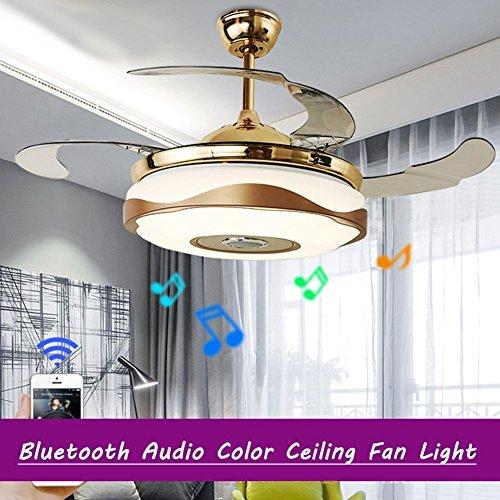 Moderne 42 '' Deckenventilator Licht Mit LED-Licht-Kit Für Esszimmer Fan Kronleuchter Lampe Für Restaurant,, Wohnzimmer - Mit Fernbedienung Und Bluetooth-Steuerung (Farbfächer - Licht Helles Deckenventilator