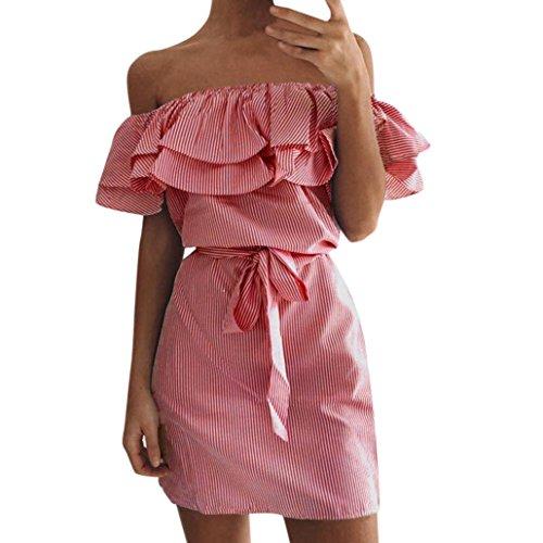 JUTOO Frauen Sommer Striped aus der Schulter Rüschen Kleid mit Gürtel(rot, EU:38/CN:S)