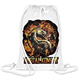Freestyle Designs Mortal Kombat - Mortal Kombat Custom Printed Drawstring Sack | 100% Soft Polyester| 5 Liter Capacity| Adjustable String Closure| The Stylish Bag For Every Day Use| Custom Bags By