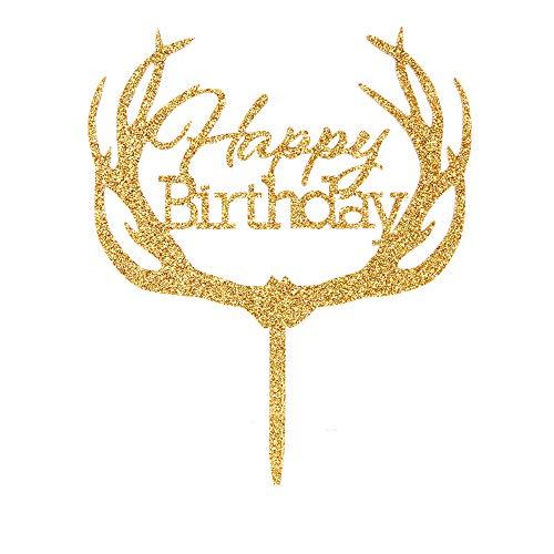 Happy Birthday Tortenaufsatz - Gold Baby Happy 1st Birthday Party Supplies Acryl Geweih Form Geburtstag Kuchen Dekoration