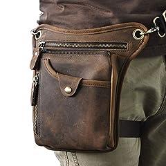 Idea Regalo - Borsello da motociclista, da uomo, in vera pelle, da portare come un marsupio pendente sulla gamba, Deep Brown