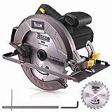 Scie Circulaire, TECCPO Professional 1200W Scie Circulaire Électrique, 5800 tr/min, Avec Lame de 185mm, 24 Dents, Profondeur de Coupe 63mm (90 °), 45mm (45 °) - TACS22P