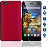 MYLB (2 en 1) la cubierta del caso del caso de cáscara duro de la cubierta protectora + claro templado dureza del cristal de la pantalla protectora 9H para Infocus V5 M808 M560 Smartphone (funda-rojo)