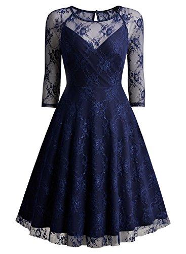Miusol Vintage Kleid Spitzen Cocktailkleid Party Abendkleid 3/4 Ärmel