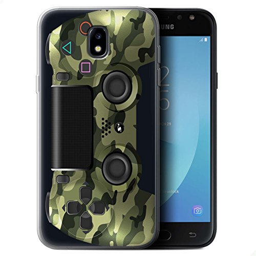 Stuff4 Gel TPU Hülle / Case für Samsung Galaxy J7 2017/J730 / Grün Tarnung Muster / Playstation PS4 Kollektion