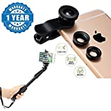 Captcha® Universal 3 In 1 (Macro+Fish Eye+Wide) Cell Phone Camera Lens Kit With Selfie Monopod Stick With Bluetooth Remote Controller Compatible With Xiaomi, Lenovo, Apple, Samsung, Sony, Oppo, Gionee, Vivo Smartphones (One Year Warranty)