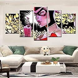 zysymx 5 peintures murales imprimées HD sur Toile Batman Living Photo Wall