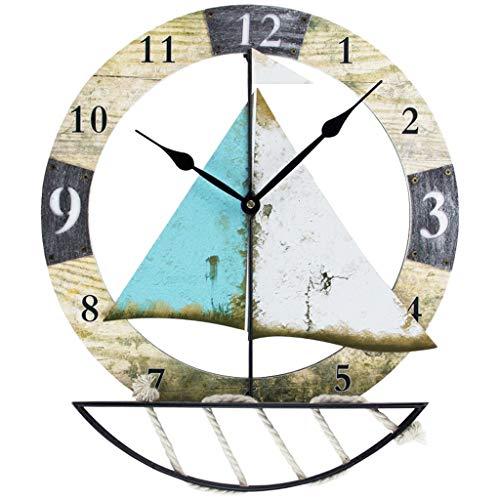 Relojes de pared MEHE Retro Americano Mudo Non-Ticking Ronda Velero Creativo diseño Digital Cafe Bar decoración de la Pared Reloj de Cuarzo