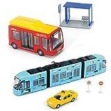 DICKIE City Liner Spielzeug Set Straßenbahn Bus Taxi Haltestelle Verkehr Stadt NEU